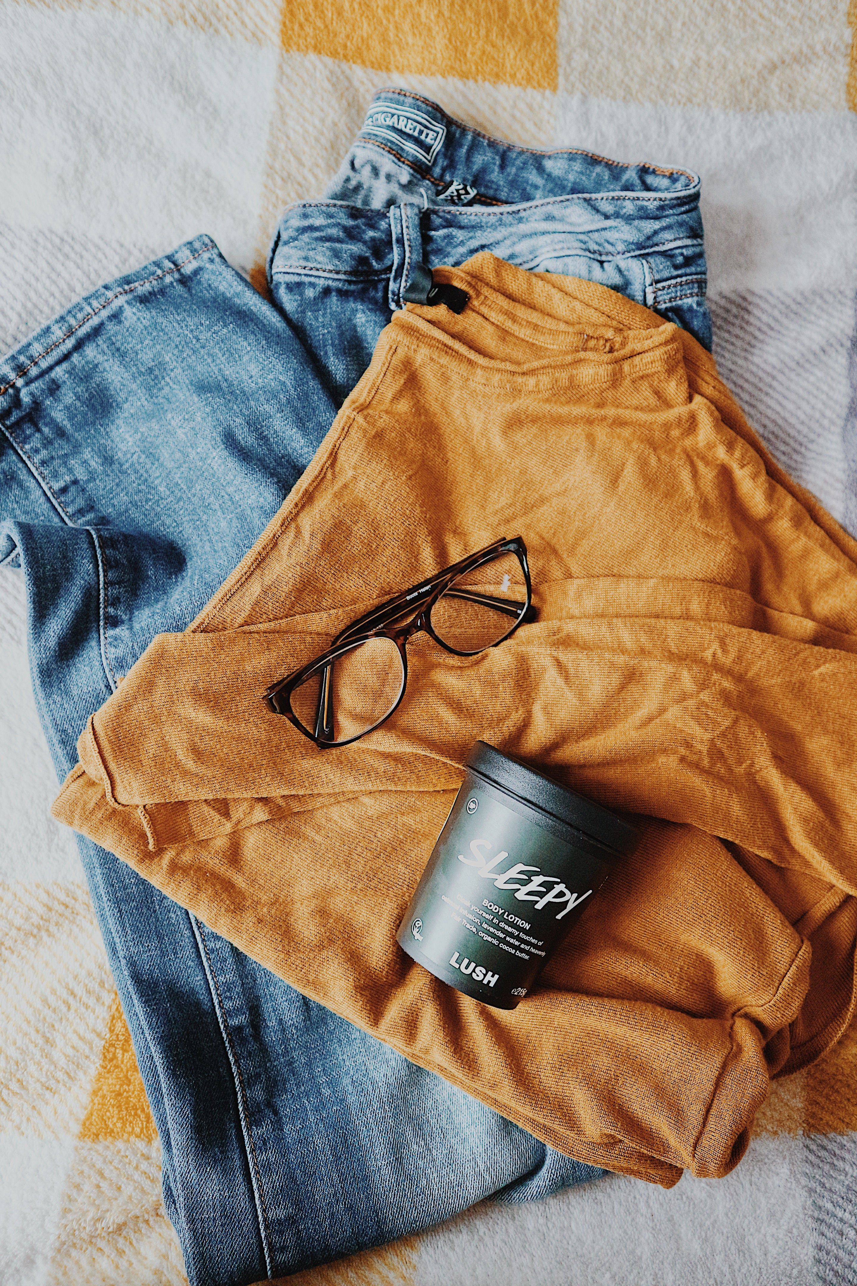 Blue Jeans | Mustard Jumper | Glasses | Lush Sleepy Body Lotion